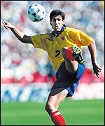 Colombia defender Andres Escobar controls the ball in the fateful match against the United States