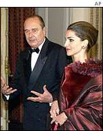 Queen Rania and French President Jacques Chirac at a state dinner