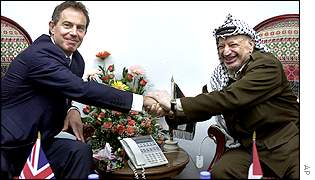 Tony Blair meets Yasser Arafat in Gaza