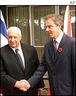 Ariel Sharon greets Tony Blair in Jerusalem