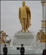 Golden statue of President Niyazov. Picture Rory Mulholland