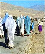 Afghan women in traditional dress