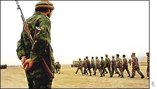 Northern Alliance troops training