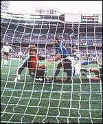 Paolo Rossi scores in the 1982 World Cup final