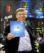 Bill Gates at the launch of the Windows XP operating system in New York earlier this month