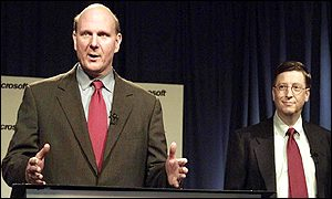 Microsoft chief executive Steve Ballmer (left) and chief software executive Bill Gates