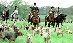 Prince William (on white horse) and Prince Charles (right) with Beaufort Hunt