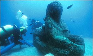 A sphinx discovered submerged in the ancient port of Alexandria, Egypt