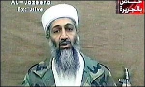 Osama Bin Laden in recorded video address on al-Jazeera TV