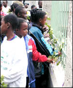 Victims' relatives at a memorial service in Nairobi