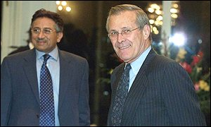 President General Pervez Musharraf and US Defence Secretary Donald Rumsfeld