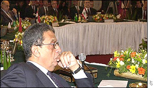 Arab League Secretary-General Amr Moussa at start of foreign minister's meeting
