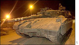 An Israeli tank leaving the West Bank town of Qalqilya