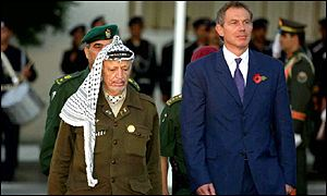 The UK Prime Minister met Mr Arafat during a whirl wind tour of the Middle East.