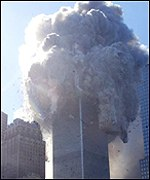 Smoke poured from New York's  World Trade Centre before it collapsed on 11 September.