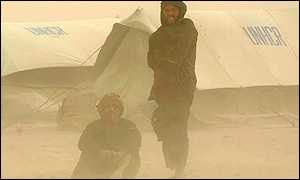 Refugees in a dust storm