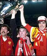 Graeme Souness, Kenny Dalglish and Alan Hansen with the European Cup in 1981