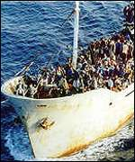 The Kalsit, stopped in July 2000 with over 400 illegal immigrants on boarda