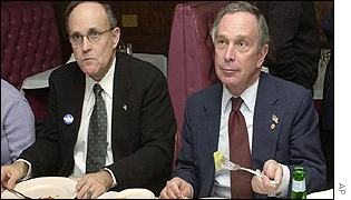 New York Mayor Rudy Giuliani with Republican mayoral candidate Michael Bloomberg