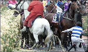 The action does not end with the race as Scott Seamer is thrown from his horse