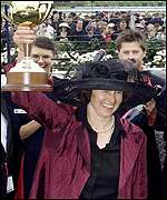 Trainer Sheila Laxon lifts the Melbourne Cup
