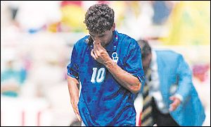Baggio starred for Italy throughout the tournament, but missed the crucial penalty in the shoot out to hand Brazil victory