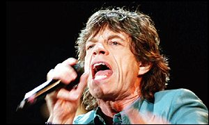 Mick Jagger in full flight at a Wembley concert in 1999