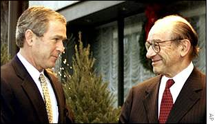 President George W Bush and Federal Reserve Chairman Alan Greenspan