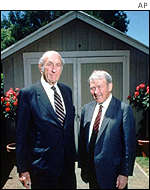 Dave Packard (left) and Bill Hewlett of Hewlett-Packard fame