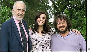 Jackson with Rings stars Christopher Lee and Liv Tyler