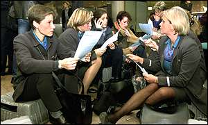 Flight attendants hear the news