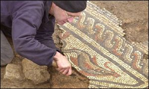 Archaeologist and mosaic