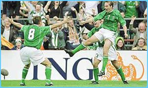 Ireland celebrate a goal against Holland