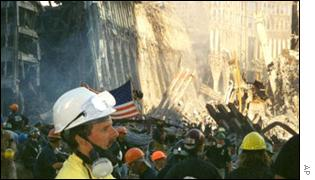 Workers clearing the rubble in New York