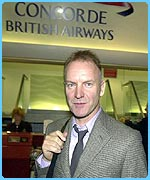 Sting was one of the celebrities on Concorde