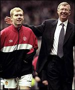 Man Utd midfielder Paul Schole and Sir Alex Ferguson