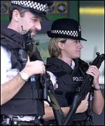 Police patrolling Heathrow