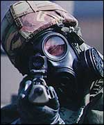 RAF member in protective clothing