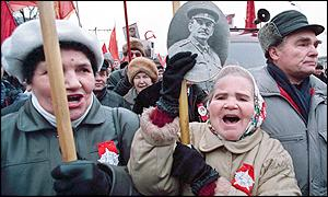 Marchers with picture of Stalin