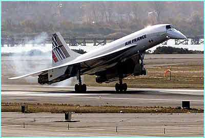 The Air France Concorde lands safely in New York