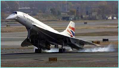 The British Airways Concorde lands safely in New York