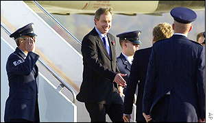 Tony Blair steps off Concorde on Wednesday