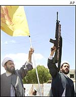 Hezbollah sheiks at the Lebanon-Israeli border