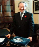 Henry McLeish with seal of office