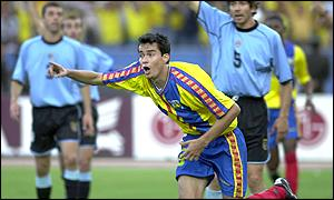 Ecuador's Ivan Kaviedes wheels away after scoring against Uraguay
