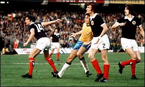 Scotland in action against Brazil in the 1974 World Cup finals