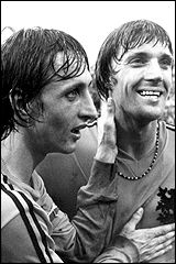 Johann Cruyff and Johan Neeskens of Holland