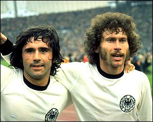 Goal machine Gerd Muller celebrates with Paul Breitner after firing West Germany to a 2-1 victory