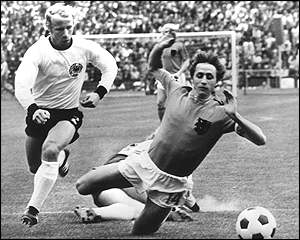 Johann Cruyff is tripped after just 80 seconds of the final against West Germany