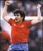 Jose Camacho celebrates a goal during one his 81 caps for Spain
